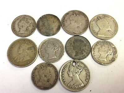 10 x British Empire Hong Kong silver coins lot, 1800s-1900s 5 & 10 Cents