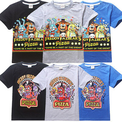 Five Nights at Freddy's Pizza Boys Girls T-Shirt Fnaf Fans Shirts Kids Top 3-12