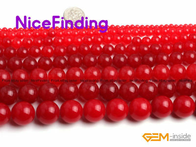 """Round Smooth Red Jade Stone Beads For Jewelry Making Loose Beads Lots Strand 15"""""""