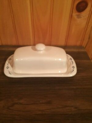 Longaberger Woven Traditions CLASSIC BLUE Pottery Butter Dish made in USA