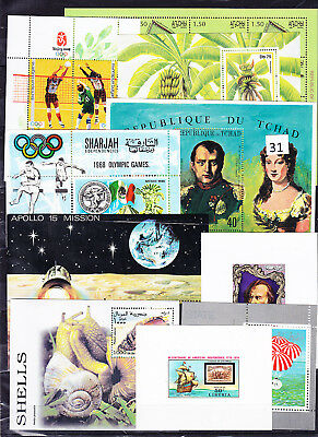 10 X Mnh - S/s - Art - Painting - Animals - Space - Olympic