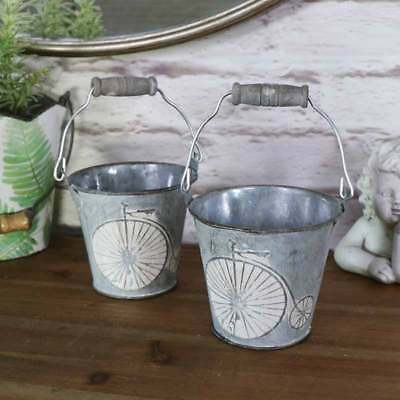 Pair of small decorative grey metal bucket pail holder vintage retro bicycle