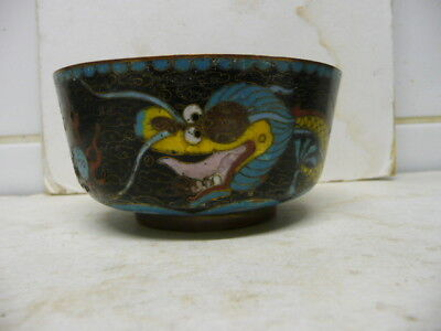 Vintage Chinese Yellow  Dragon Cloisonne Pot With Lid