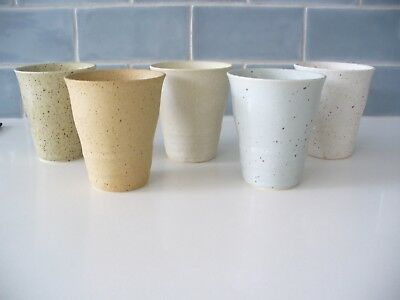Brand New  Hand Made Stoneware Japanese Tea Cups - Set Of 5 - Perfect Condition