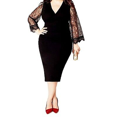 Womens Ladies Lace long sleeve Dress Party Prom V neck Cocktail Plus Size UK 16