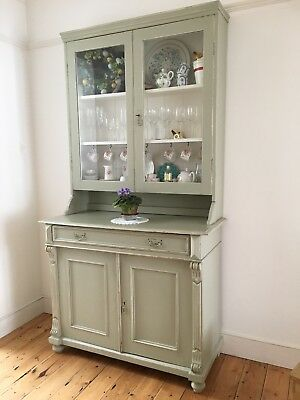 Large Antique Pine Painted Distressed French Dresser