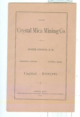 1880 Crystal Mica Mining Company North Groton, New Hampshire