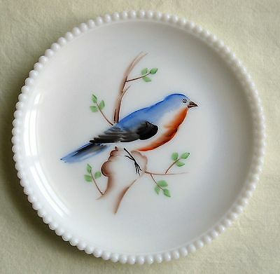 Vintage Westmoreland Blue Bird Plate Milk Glass Beaded Edge Hand Painted 7 1/2""