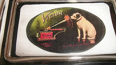 Victor Nipper Radio Phonograph Oval Sign Logo Advertising  Glass Paperweight  W