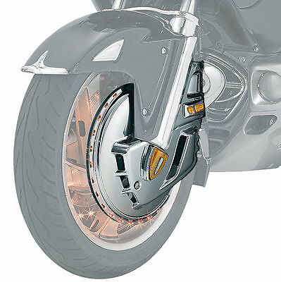 Kuryakyn Ring of Fire Rotor Cover  Chrome with Amber Lights