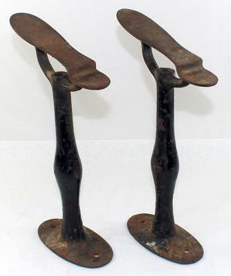 Antique Pair of Cast Iron Shoe Shine Cobbler Footrest Stands