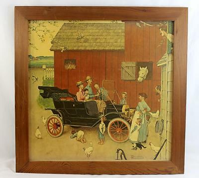 "Framed Norman Rockwell Print - ""The Famous Model T was Boss of the Road"""