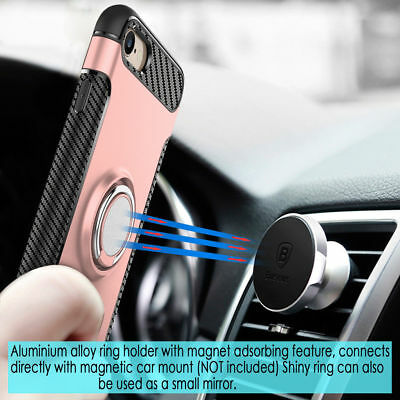 For iPhone 6 6S 7 8/Plus 360°Ring Magnetic Holder Hybrid Holster Shockproof Case
