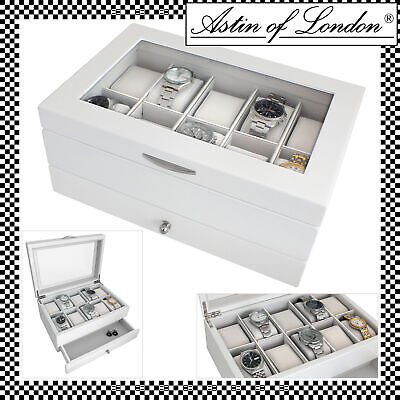Aston Of London® White Wooden 10 Watch Display Case & Storage Box With Drawer
