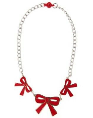Gymboree Holiday Shop Charm Necklace Bows NWT Silvertone 3 4 5 6 7 8 10 12