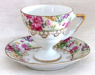 Vintage Cup & Saucer, Petite, Footed, Floral Design, Gold Accent Trim, Porcelain