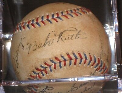 1927 New York Yankees LOU GEHRIG BABE RUTH Signed Baseball READ LISTING