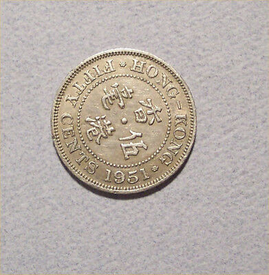 1951 Hong Kong 50 Cent Coin King George The Sixth---Ad001
