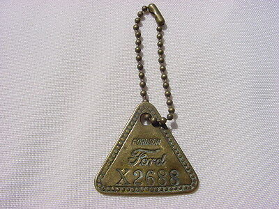 "Antique Brass Tool Check Tag: ""ford Fordson"" Tag Number X2688 With Chain"