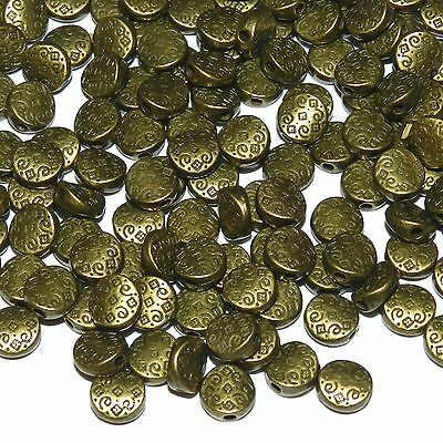 MBX930p Antiqued Bronze 7mm Patterned Flat Round Coin Metal Spacer Beads 100pc