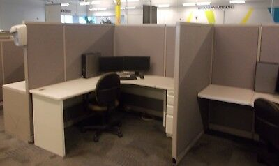 Lot of 150 Steelcase 6' x 6' budget office cubicles grey beige neutral color