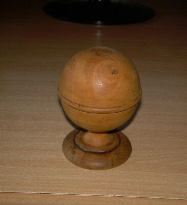 Treen vintage X 3. Sphere Ball. Chemist Apothecary Turned Bases