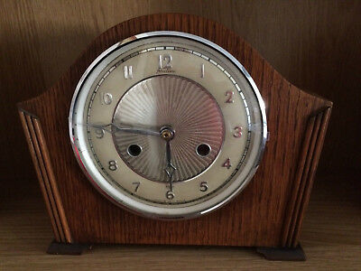 Art Deco Wooden Cased Bentima Mantel Clock (Converted To Battery Power)