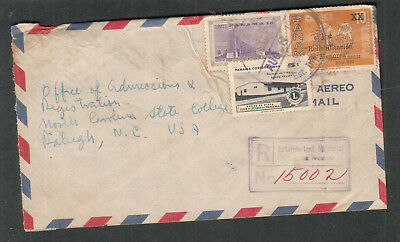 Panama 1961 registered air mail cover to Raleigh NC