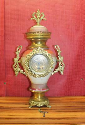 Antique Mantel Clock 19th century French clock in porcelain