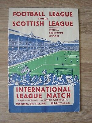 1951 Football League V Scottish League @ Sheffield Wednesday