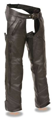 Milwaukee Leather Mens Vented Chaps w/Reflective Piping Black