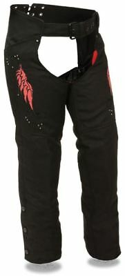 Milwaukee Leather Womens Textile Chaps w/ Wing & Rivet Detailing Red