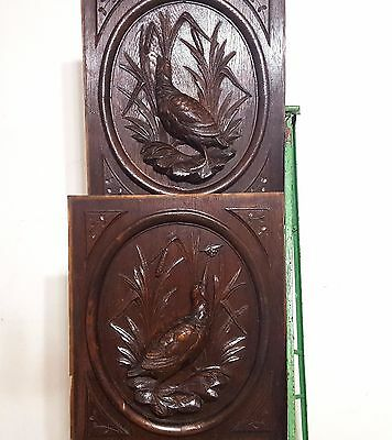 HAND CARVED WOOD PANEL ANTIQUE FRENCH MATCHED PAIR HUNTING SCENE CARVING 19th