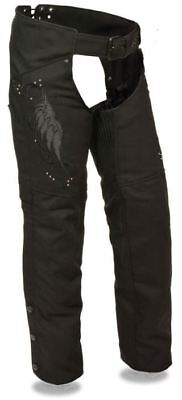 Milwaukee Leather Womens Textile Chaps w/ Wing & Rivet Detailing Black