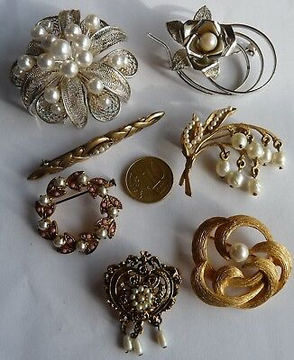 Antique Vintage Jewels Brooch's / Lot De Bijoux Fantaisie / Broches Anciennes