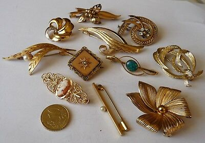 Antique Vintage Jewels Brooch's Lot De Bijoux Broches Anciennes Perles Camee Etc