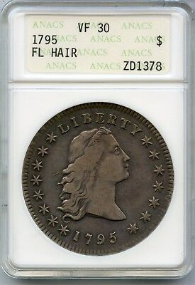 1795 Flowing Hair Silver Dollar $1 ANACS VF 30 Certified Coin - JX668