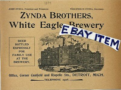 1899 advertisement Detroit Michigan ZYNDA BROTHERS WHITE EAGLE BREWERY beer brew