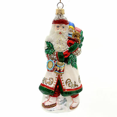 Slavic Treasures NOCTURNAL PATRON WHITE Glass Ornament Santa Alpine 02776