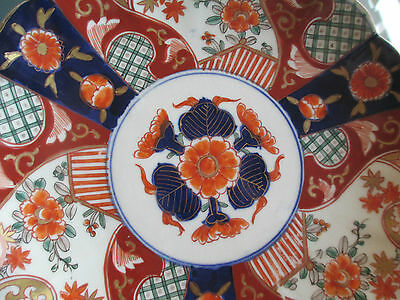 Old Imari Plate - Orange/blue Floral - Gold On Rim Worn Away - Sticker On Back