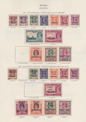 Burma Ovpt Stamps Old Time Page King George Vi Mint Including High Values