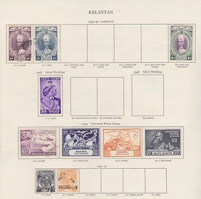 Malaya Kelantan Stamps Old Time Page King George Vi Mint Including High Values