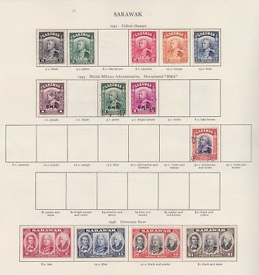 Sarawak Stamps Old Time Page King George Vi Mint Including High Values