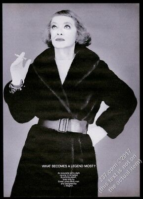 1968 Bette Davis photo by Richard Avedon Blackglama fashion vintage print ad