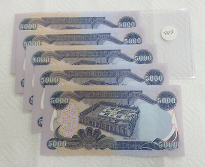 5- 5,000 Dinar Notes Central Bank of Iraq.