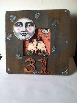 Altered art mixed media fairy frame HALLOWEEN 31 OOAK  original collage