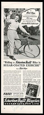 1941 Bob Hope photo Schwinn lightweight bike bicycle vintage print ad