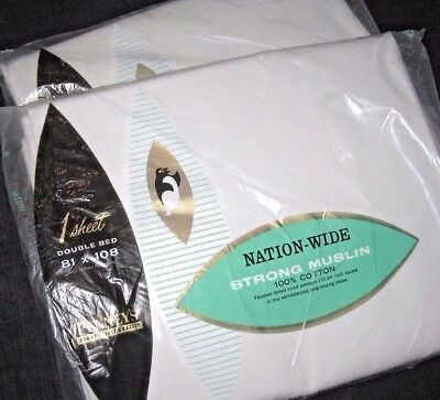 Lot of 2 NIP Vintage Solid White COTTON Full Size Flat Sheets by Penneys USA
