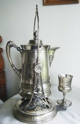 Antique Silver Plate Tilting Water Pitcher With Stand And Orignal Goblet