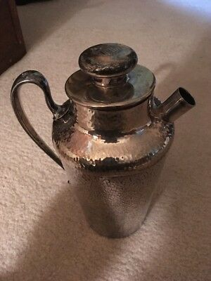 "Meriden Silver Plate Hammered Pitcher Vintage 9.5"" Tall"